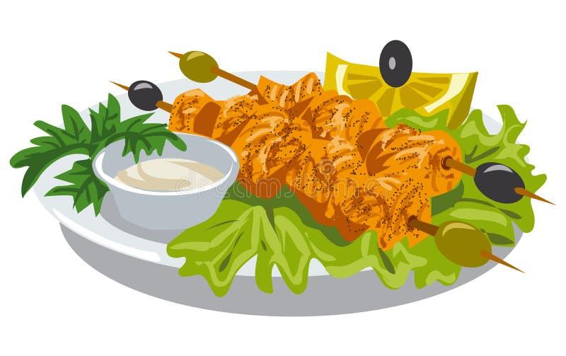 Kebab цыпленка с соусом иллюстрация штока