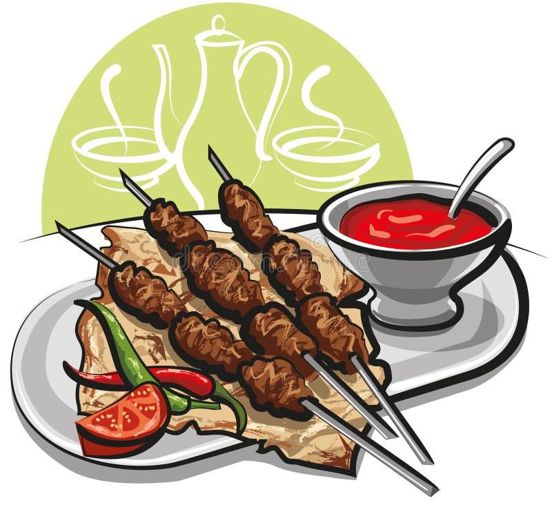 Kebab com pão do pitta ilustração royalty free