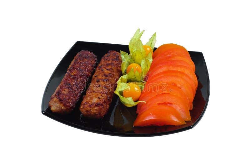 Kebab com vegetal decora imagens de stock