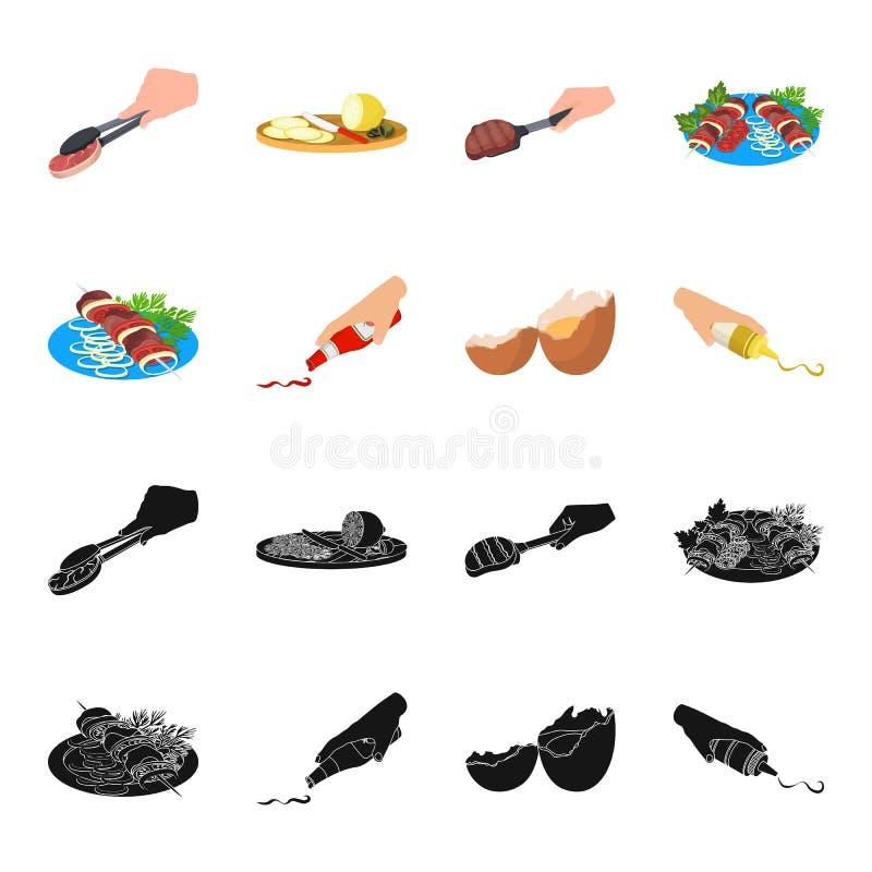 Kebab con las verduras, salsa de tomate y mostaza, sazonando para la comida, huevo roto Comida y cocinar iconos determinados de l stock de ilustración