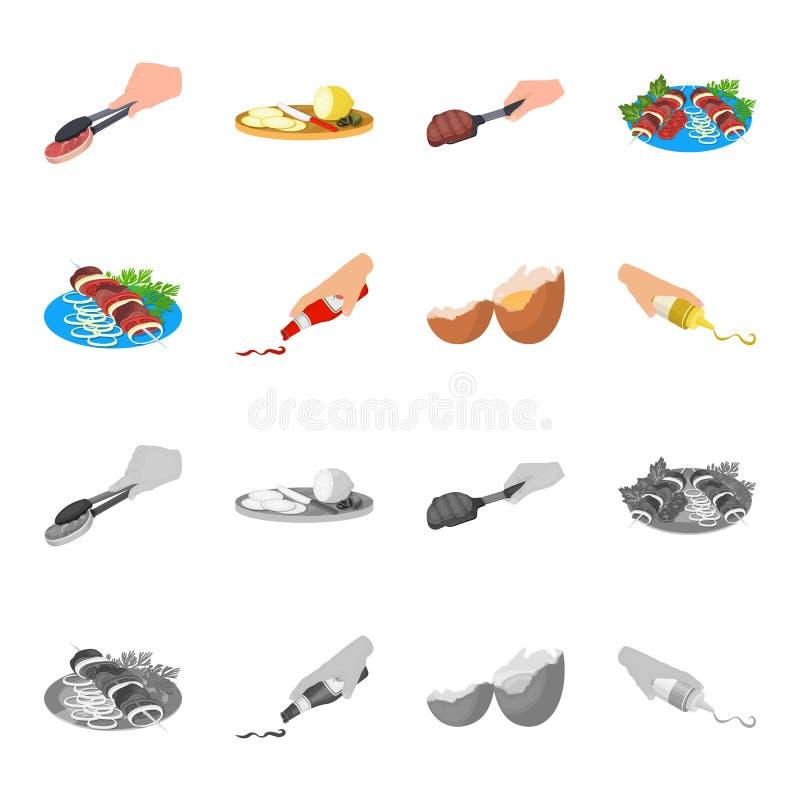 Kebab con las verduras, salsa de tomate y mostaza, sazonando para la comida, huevo roto Comida y cocinar iconos determinados de l ilustración del vector