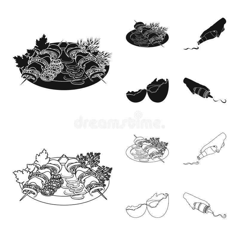 Kebab con las verduras, salsa de tomate y mostaza, sazonando para la comida, huevo roto Comida y cocinar iconos determinados de l libre illustration
