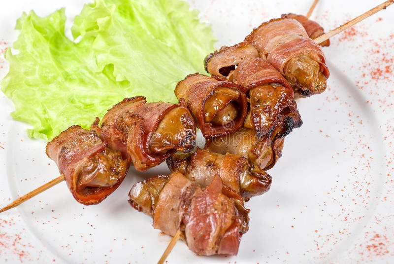 Kebab de foie de poulet image stock