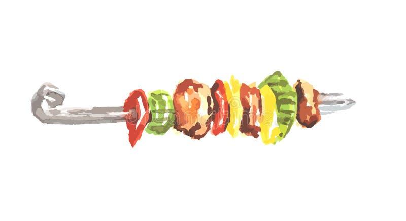 Kebab de la acuarela ilustración del vector