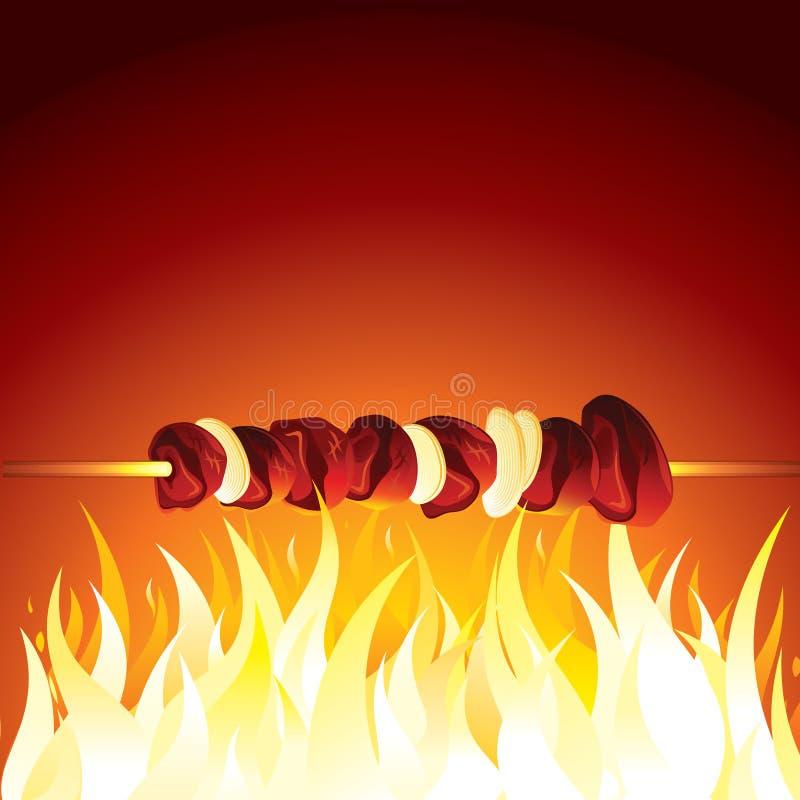 Kebab de la parrilla preparado en la llama caliente Vector ilustración del vector