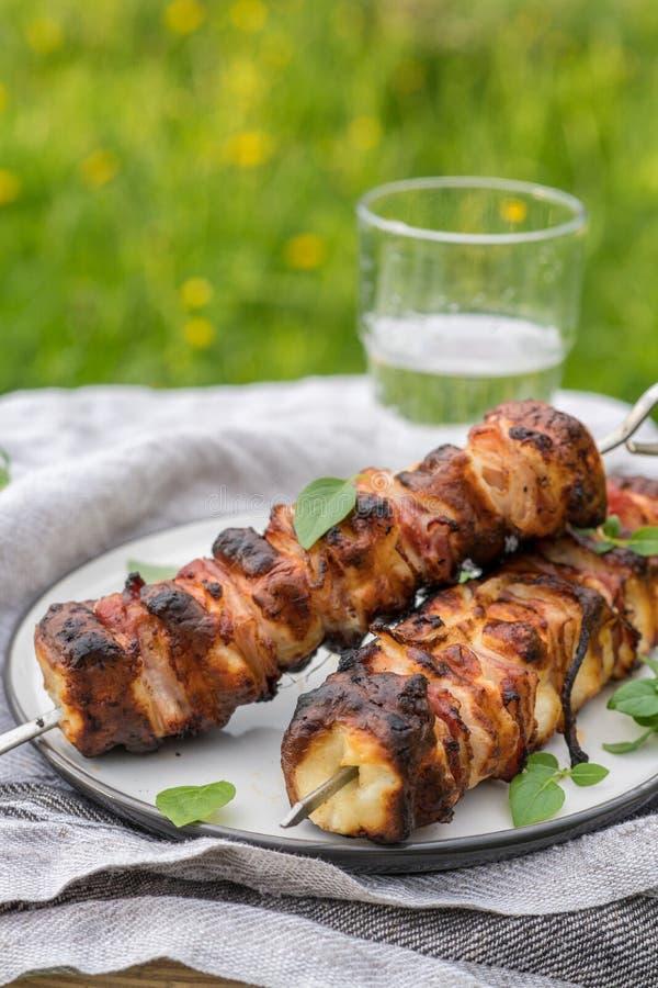 Kebab del formaggio di Halloumi immagini stock libere da diritti