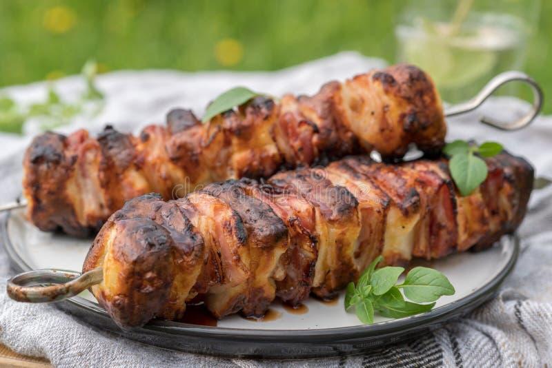 Kebab del formaggio di Halloumi fotografie stock libere da diritti