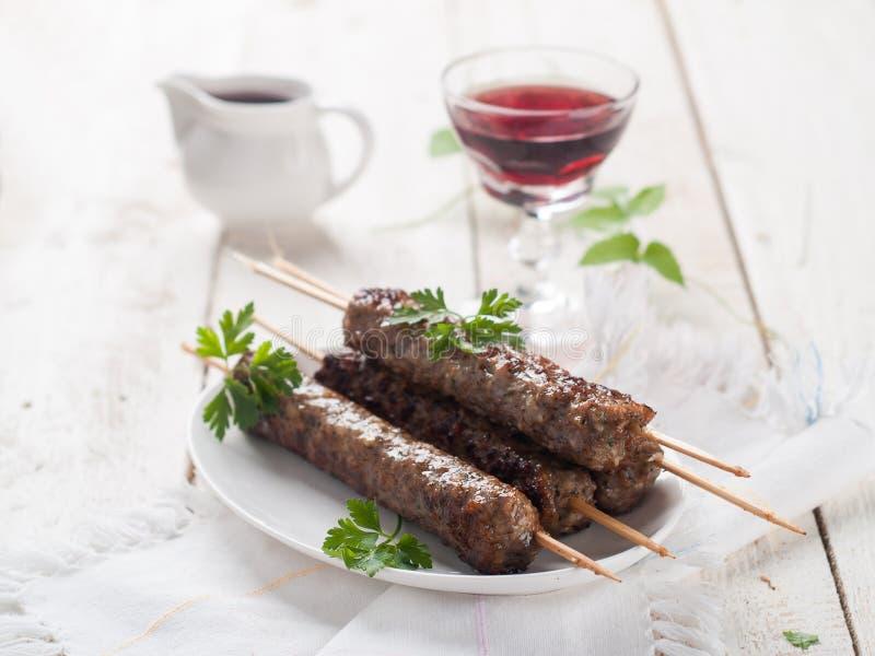 Kebab della carne tritata fotografia stock libera da diritti