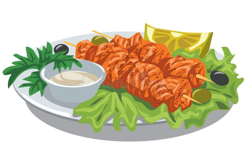 Kebab di color salmone cotto illustrazione di stock