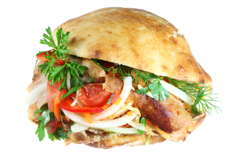 Kebab di Doner su bianco. fotografie stock libere da diritti