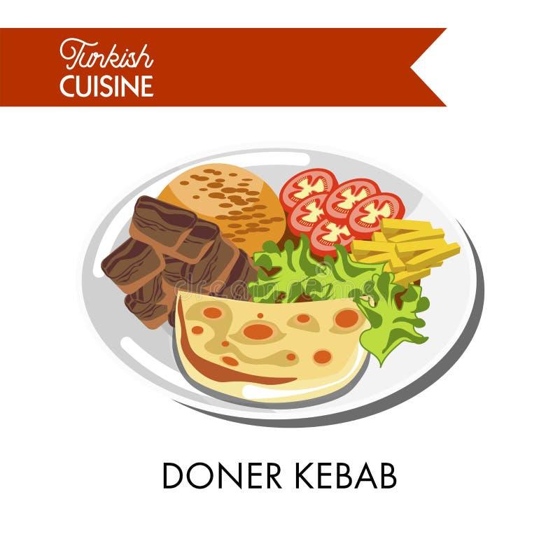 Kebab Doner с свежими овощами, нежным сыром и сочным мясом иллюстрация штока