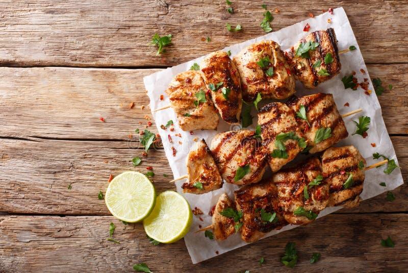Kebab e Murgh - pollo Kabab marinato con salsa del cumino del yogurt fotografia stock