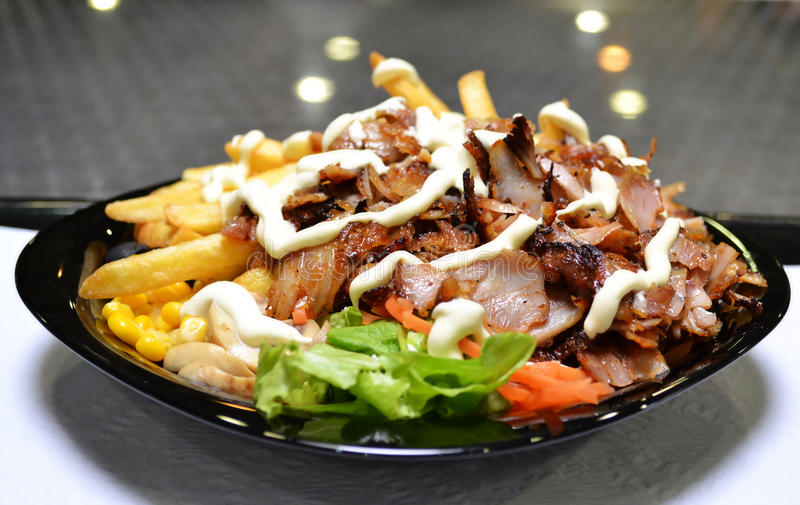 Kebab Fast Food Dish. A fast food dish of Kebab on a tray stock photography