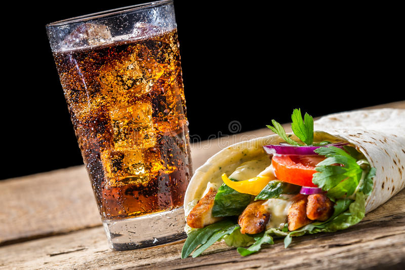 Kebab with fresh vegetables and chicken royalty free stock images