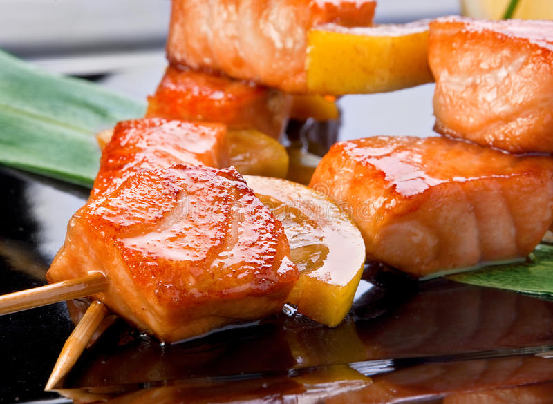 Kebab fritto salmoni immagini stock libere da diritti