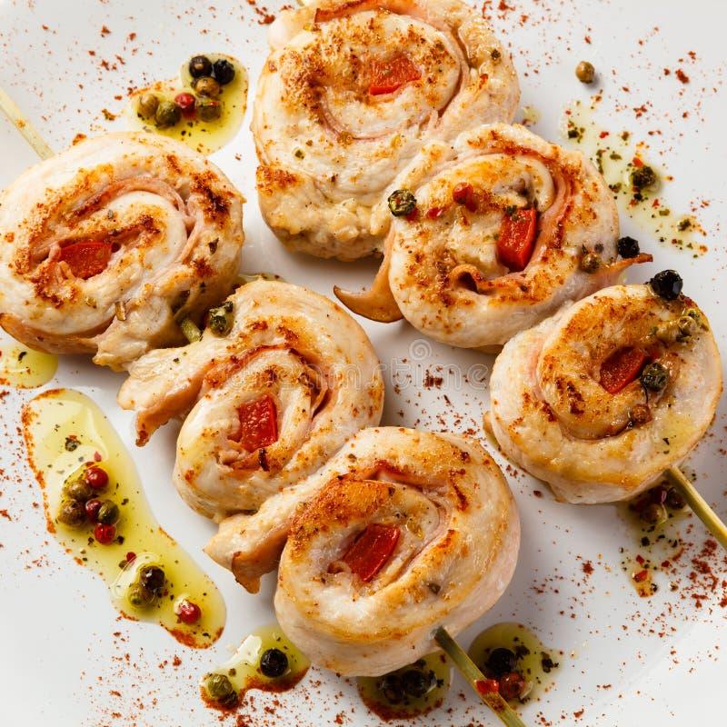 Kebab - geroosterd kippenvlees stock afbeeldingen