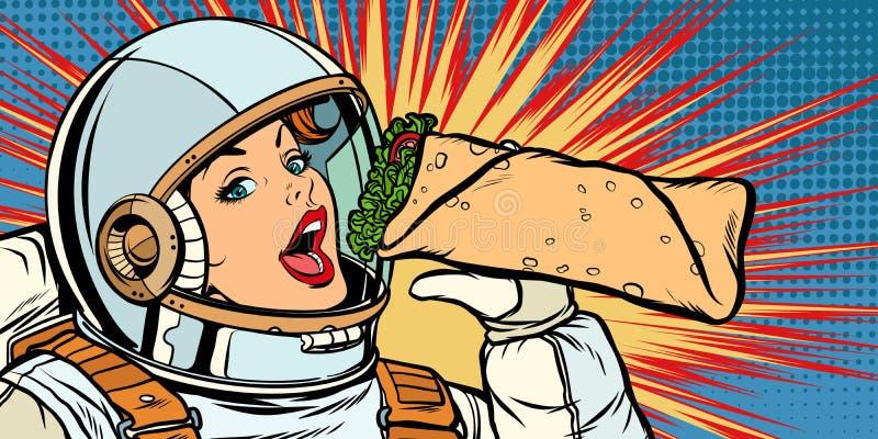 Kebab hambriento Doner Shawarma de la consumición del astronauta de la mujer ilustración del vector