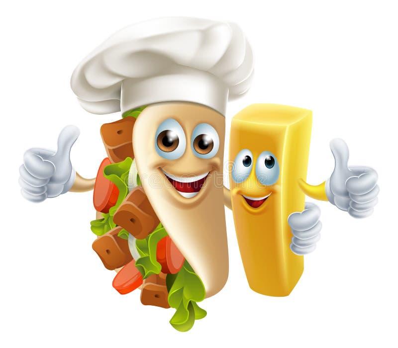 Kebab i układów scalonych przyjaciele royalty ilustracja