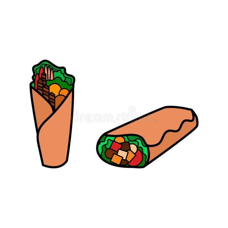 Kebab icon set. Shawarma, wrap or doner icon. Fast food logo. stock illustration