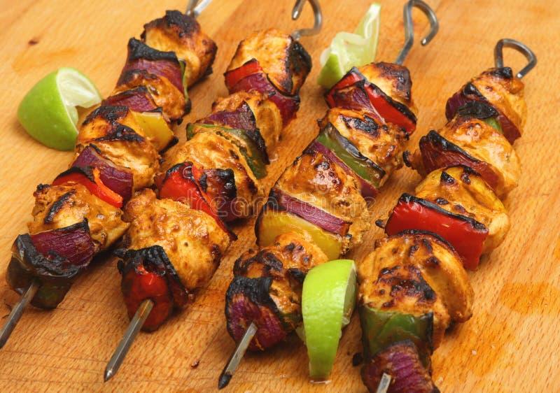 Kebab indiani di Tikka del pollo immagine stock libera da diritti