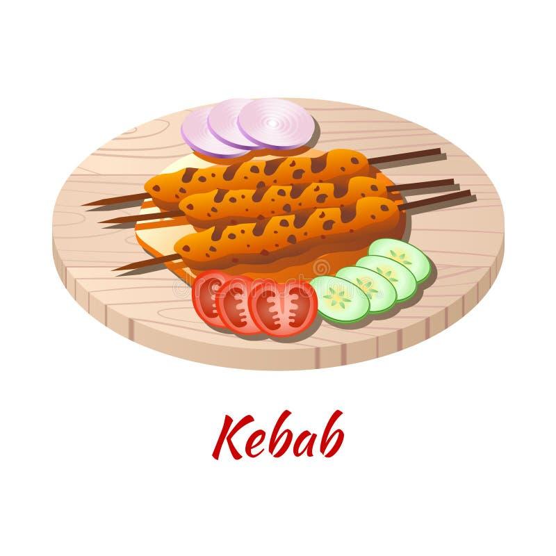 Kebab ist köstlich und berühmt Essen von Halal in farbigen Gradienten Design-Ikone stock abbildung