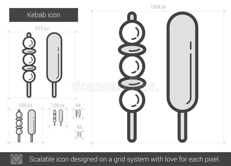 Kebab linii ikona royalty ilustracja