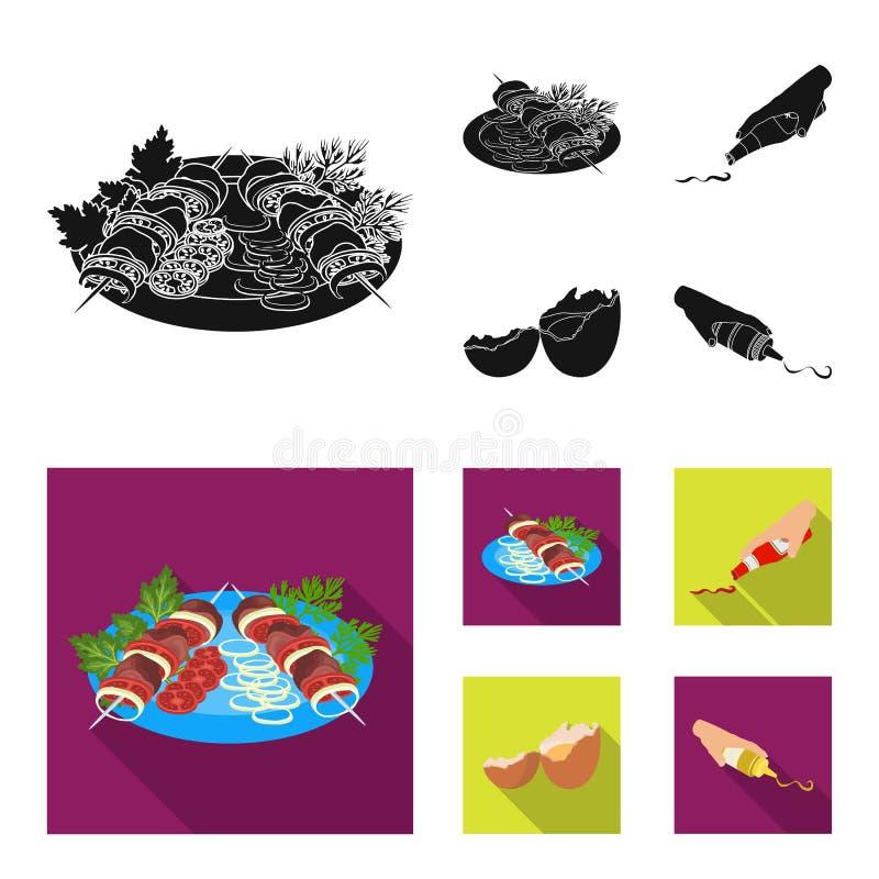 Kebab med grönsaker, ketchup och senap som kryddar för mat, brutet ägg Fastställda samlingssymboler för mat och för matlagning vektor illustrationer