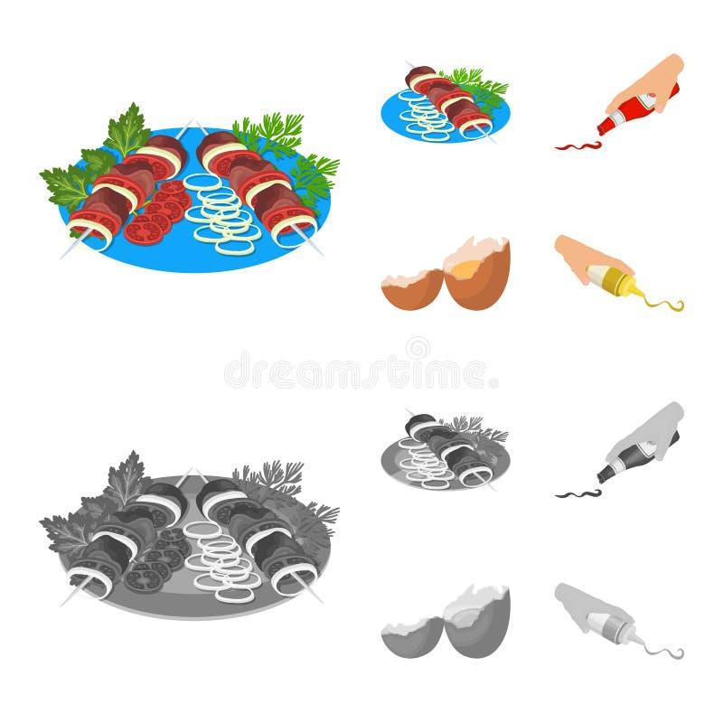 Kebab med grönsaker, ketchup och senap som kryddar för mat, brutet ägg Fastställda samlingssymboler för mat och för matlagning stock illustrationer