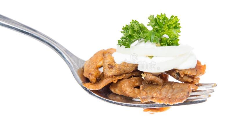 Kebab na rozwidleniu (biały tło) zdjęcie royalty free