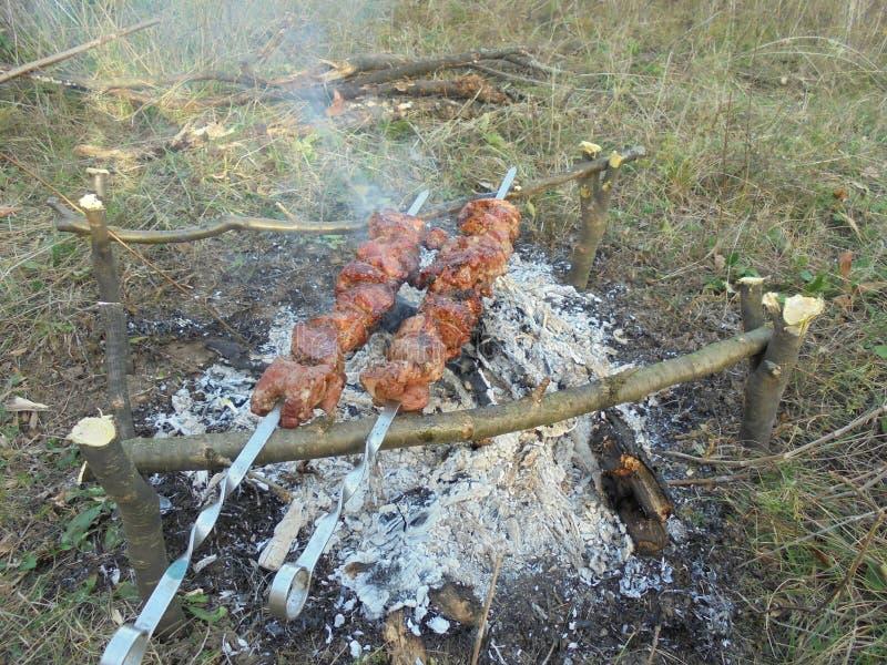 Kebab op vleespennen die op een brand ter plaatse gebraden is stock foto's