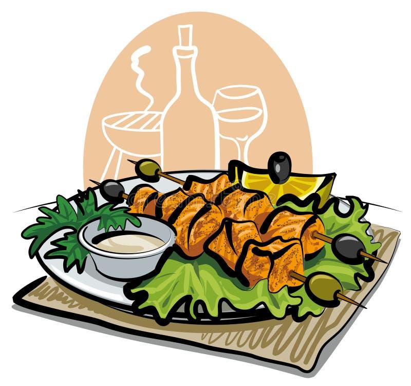 kebab piec na grillu łosoś ilustracja wektor