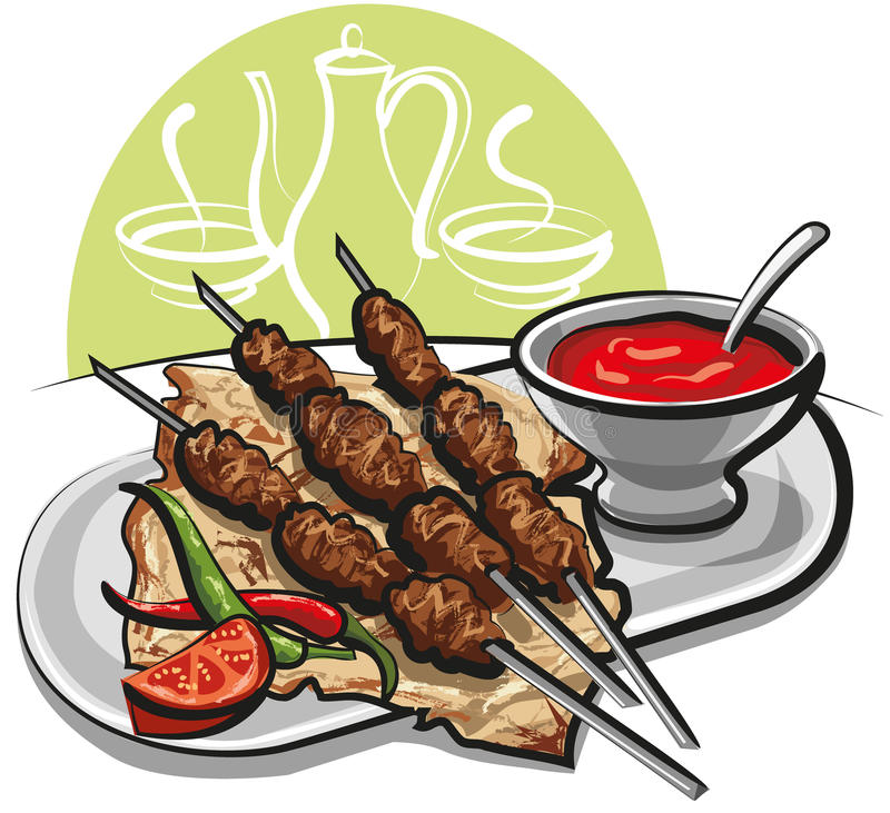 Download Kebab with pitta bread stock illustration. Illustration of dishware - 21252186