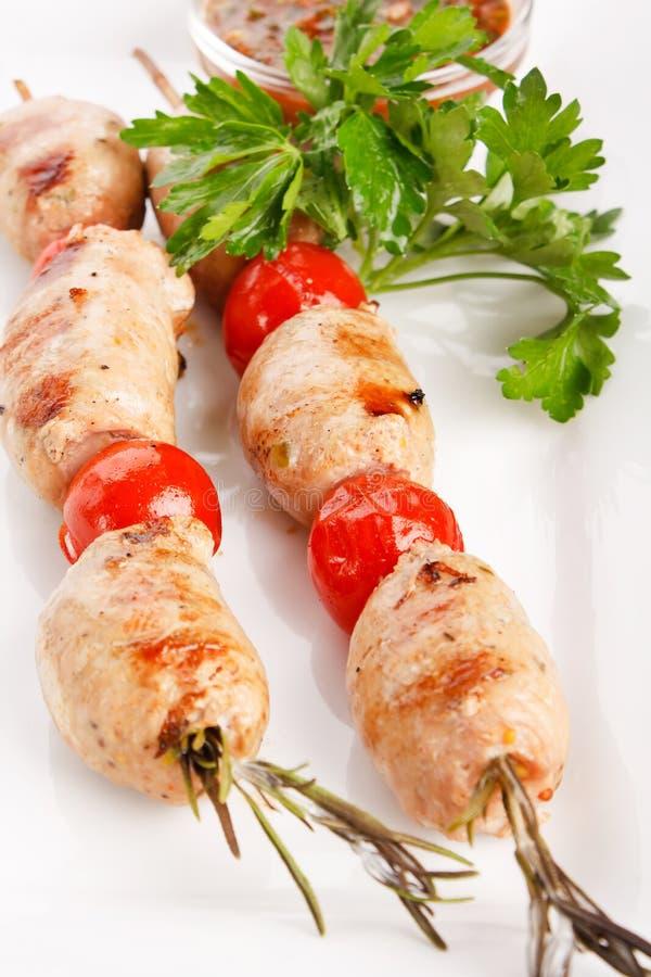 Kebab Roasted com vegetais imagens de stock