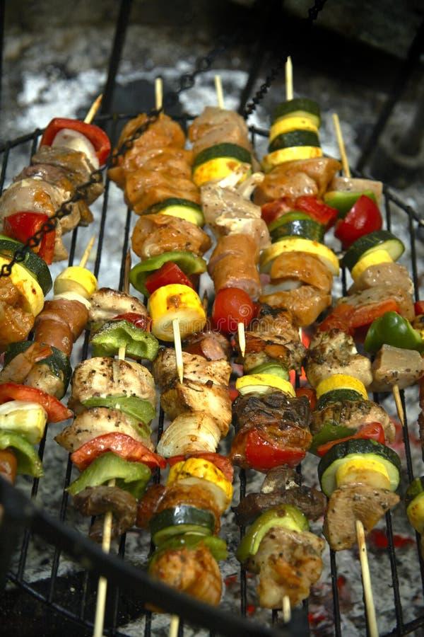 Kebab su un fuoco di accampamento immagini stock libere da diritti