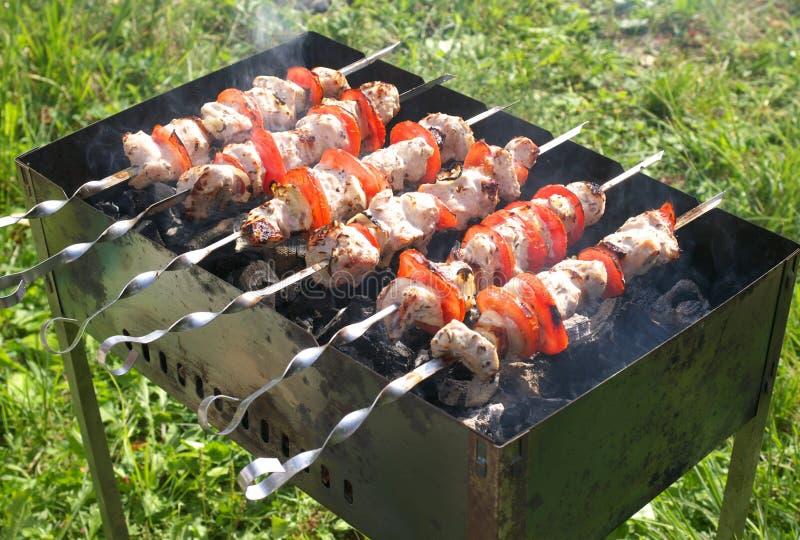 Kebab sur le gril image libre de droits