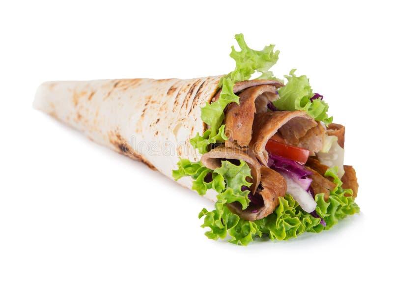 Kebab turco Yufka en el fondo blanco fotos de archivo libres de regalías