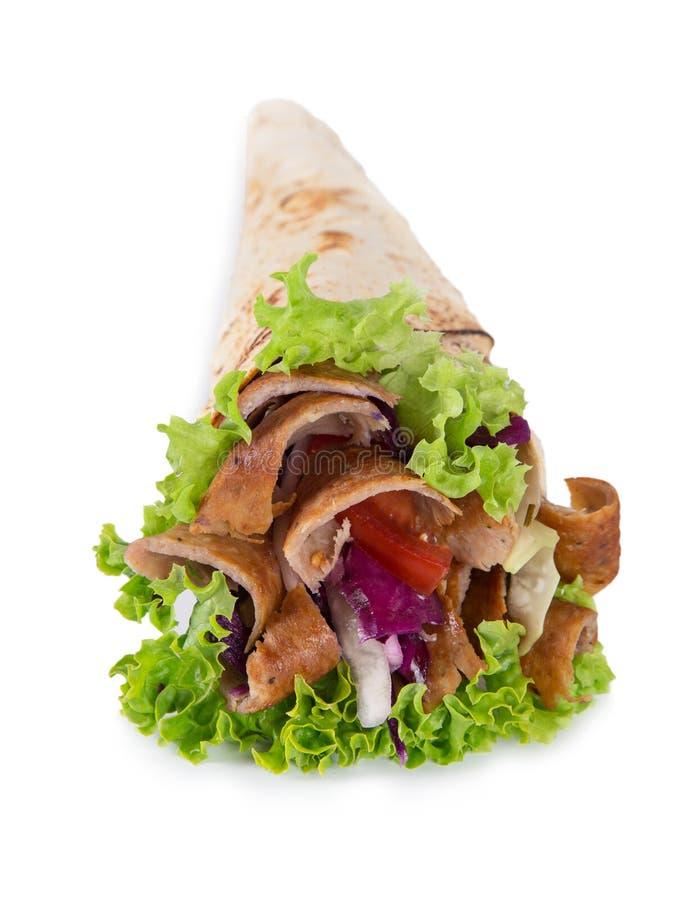 Kebab turco Yufka en el fondo blanco imágenes de archivo libres de regalías