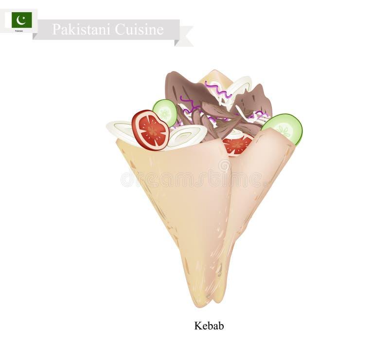 Kebab, uno della maggior parte del piatto famoso nel Pakistan illustrazione di stock