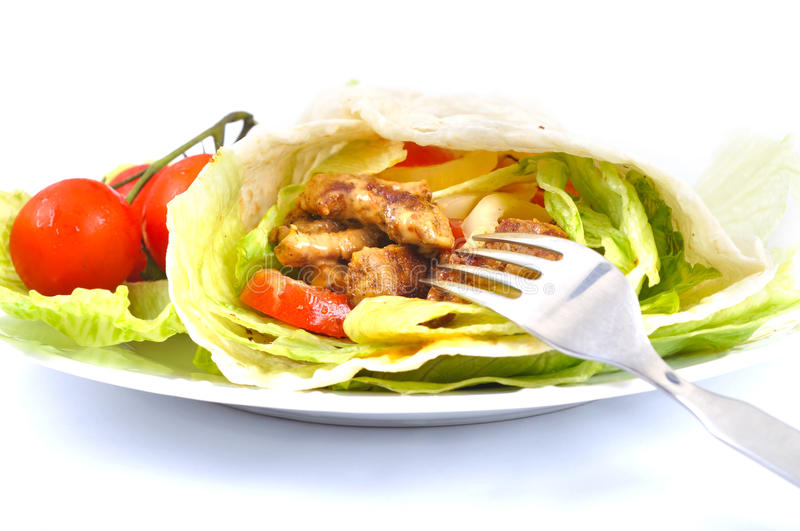 Kebab with vegetable royalty free stock photo