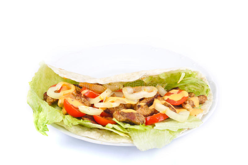 Kebab with vegetable stock image