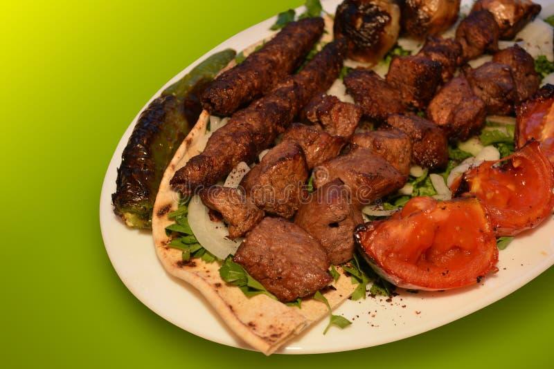 Kebab, wołowina grilla fotografia, Restauracyjna menu fotografia fotografia stock