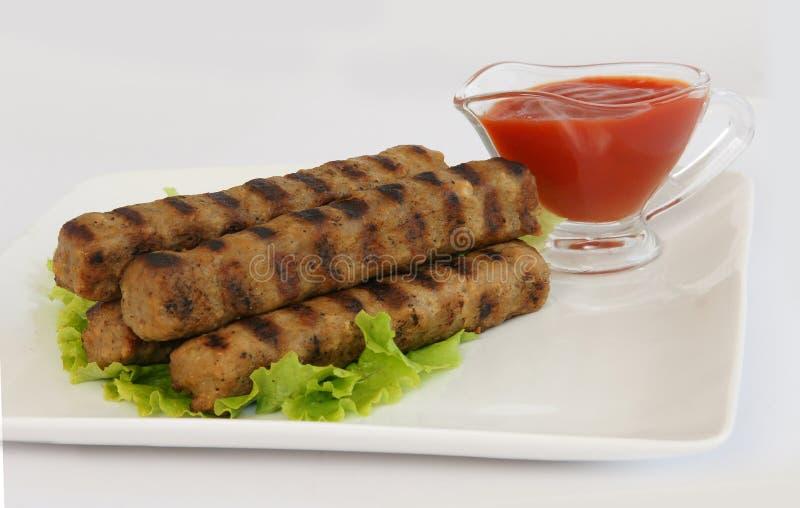 Kebabche e ketchup foto de stock royalty free