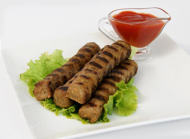 Kebabcheta e ketchup imagens de stock