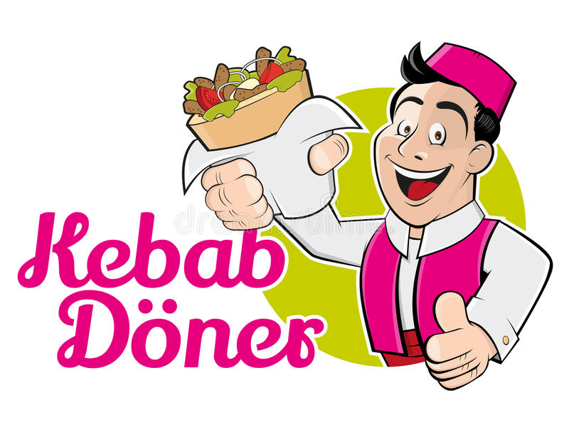 Kebabdoner royaltyfri illustrationer