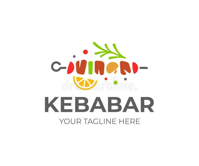 Kebablogoentwurf Fleischaufsteckspindel mit Gemüsevektorentwurf stock abbildung