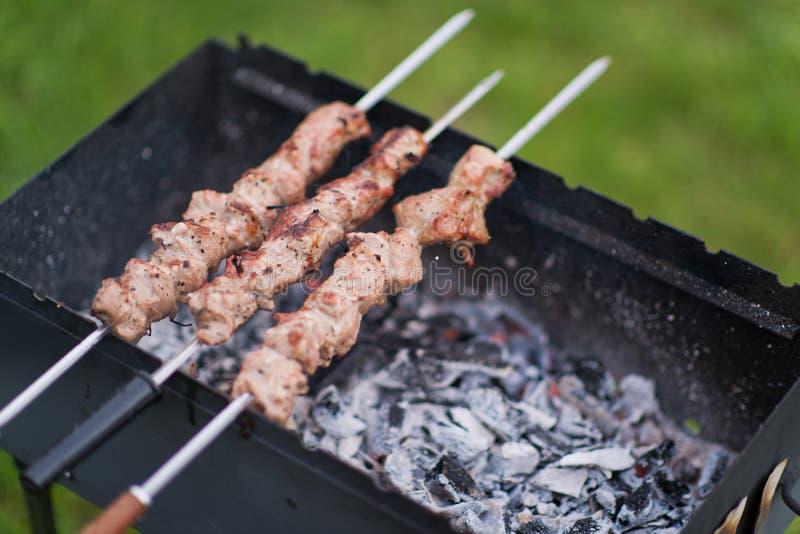 Kebabs για το θερινό χρόνο σχαρών στη φύση στοκ φωτογραφία με δικαίωμα ελεύθερης χρήσης