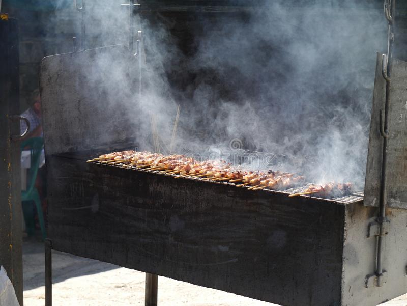 Kebabs on a barbecue. Souvlaki on a barbecue in Greece stock photography