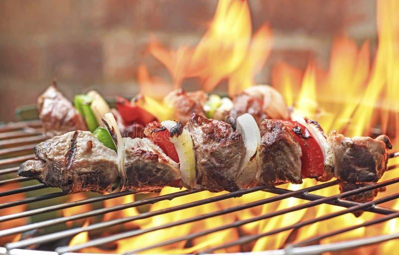 Kebabs bij de grill stock foto