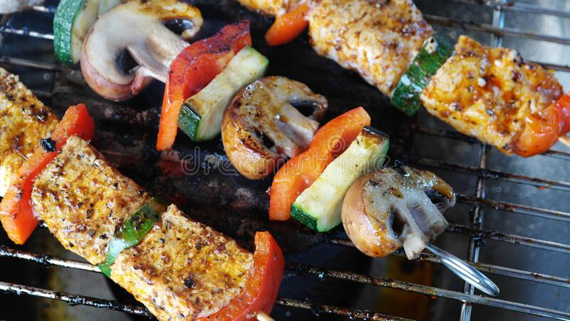 Kebabs bij de grill royalty-vrije stock foto's