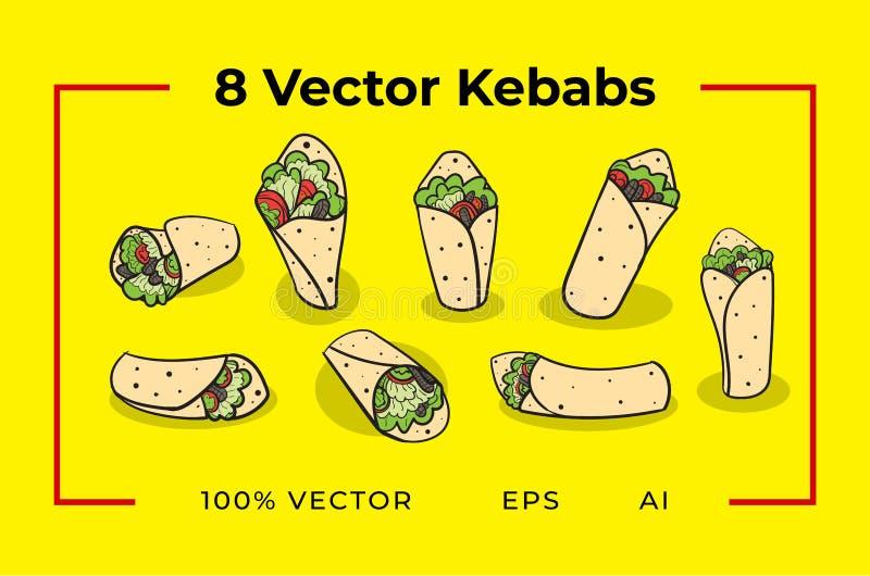 8 kebabs del vector foto de archivo libre de regalías